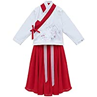 XueXian Chinese Style Hanfu Kids Girls Long Sleeve Tops Embroidered Swing Skirt Set for Stage Show