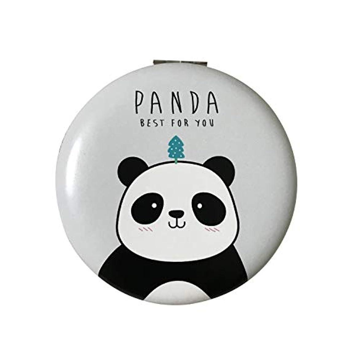 ふさわしい旅行代理店サイドボード手鏡 コンパクトミラー 両面化粧鏡 携帯ミラー 折りたたみ 割れない パンダ 拡大鏡付き グレー 丸型