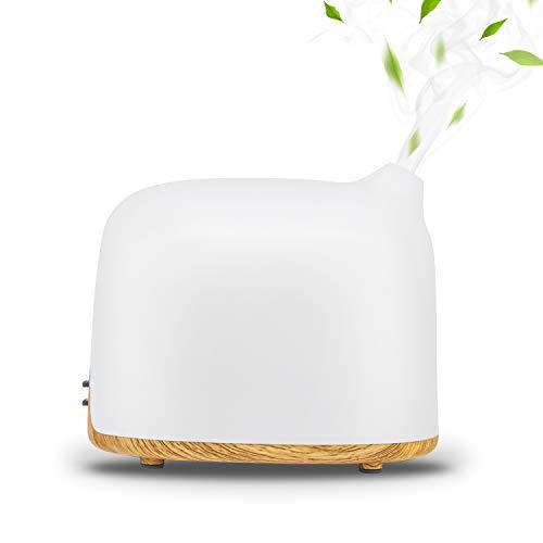 2019新型 加湿器 卓上 アロマ加湿器 アロマディフューザー 超音波式加湿器 超静音 ミスト2段階調節 7色LEDライト変換 乾燥/花粉症対策 アロマ対応 空焚き防止 空気浄化機 300ML 小型 木目調