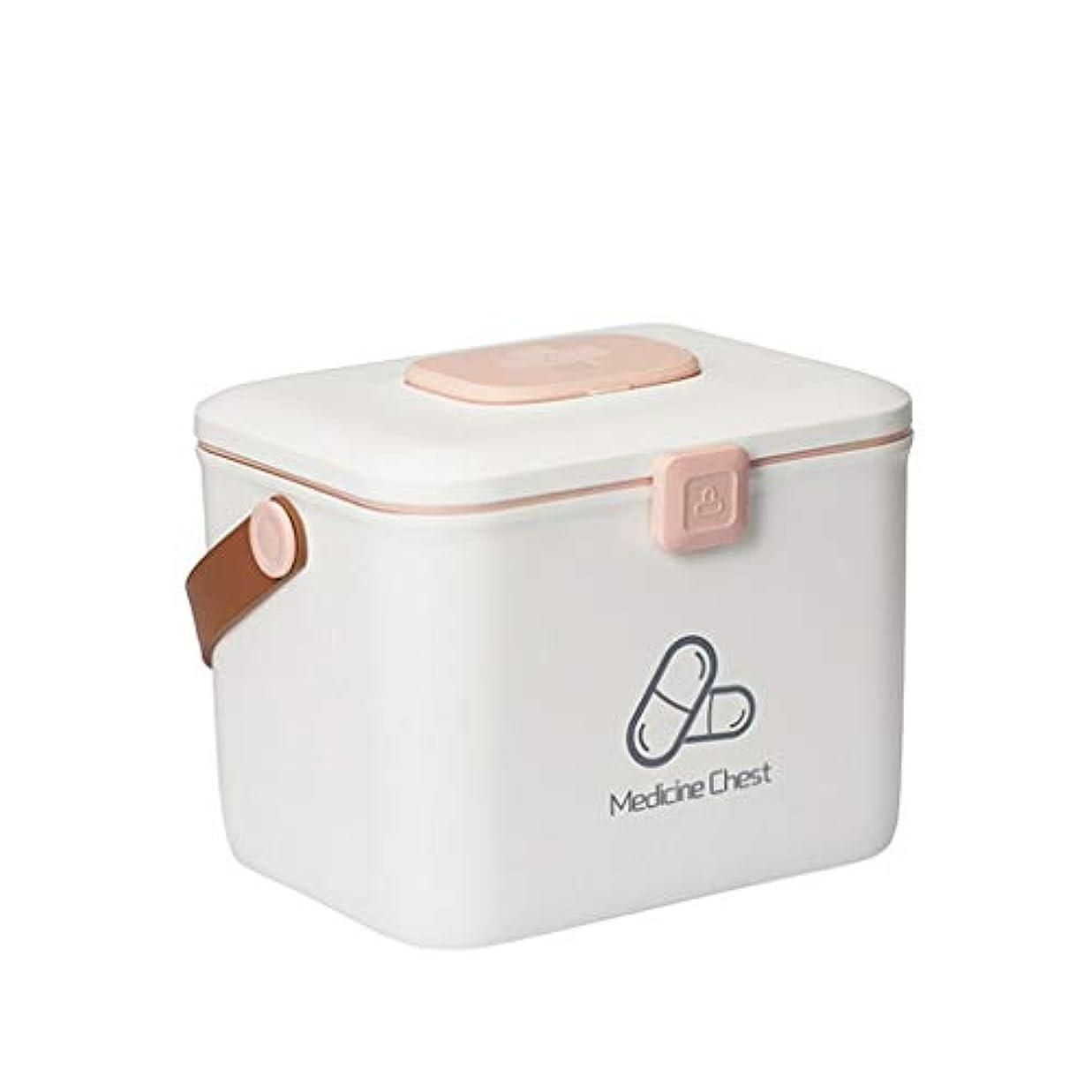 才能のホスト悪党小さな家庭用薬箱プラスチック薬収納ボックス医療多層ポータブル救急箱 HUXIUPING (Color : White, Size : L)