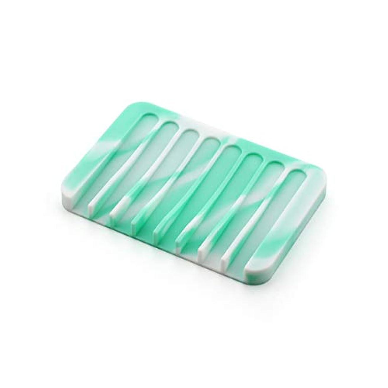 活気づけるナイロンハチZALING 1ピース浴室キッチンフレキシブルシリコンソープディッシュアンチスリップソープボックストレイプレートミントホワイト