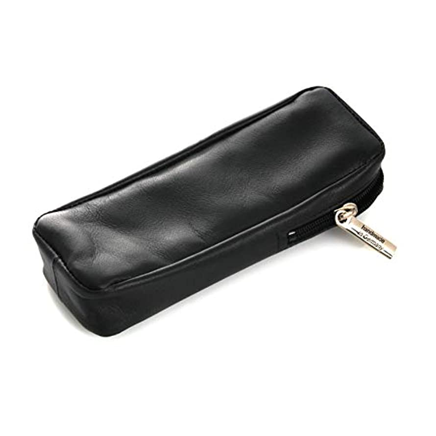 有名材料奨学金Razor Case 13 cm, Leather, Black, Dovo Solingen