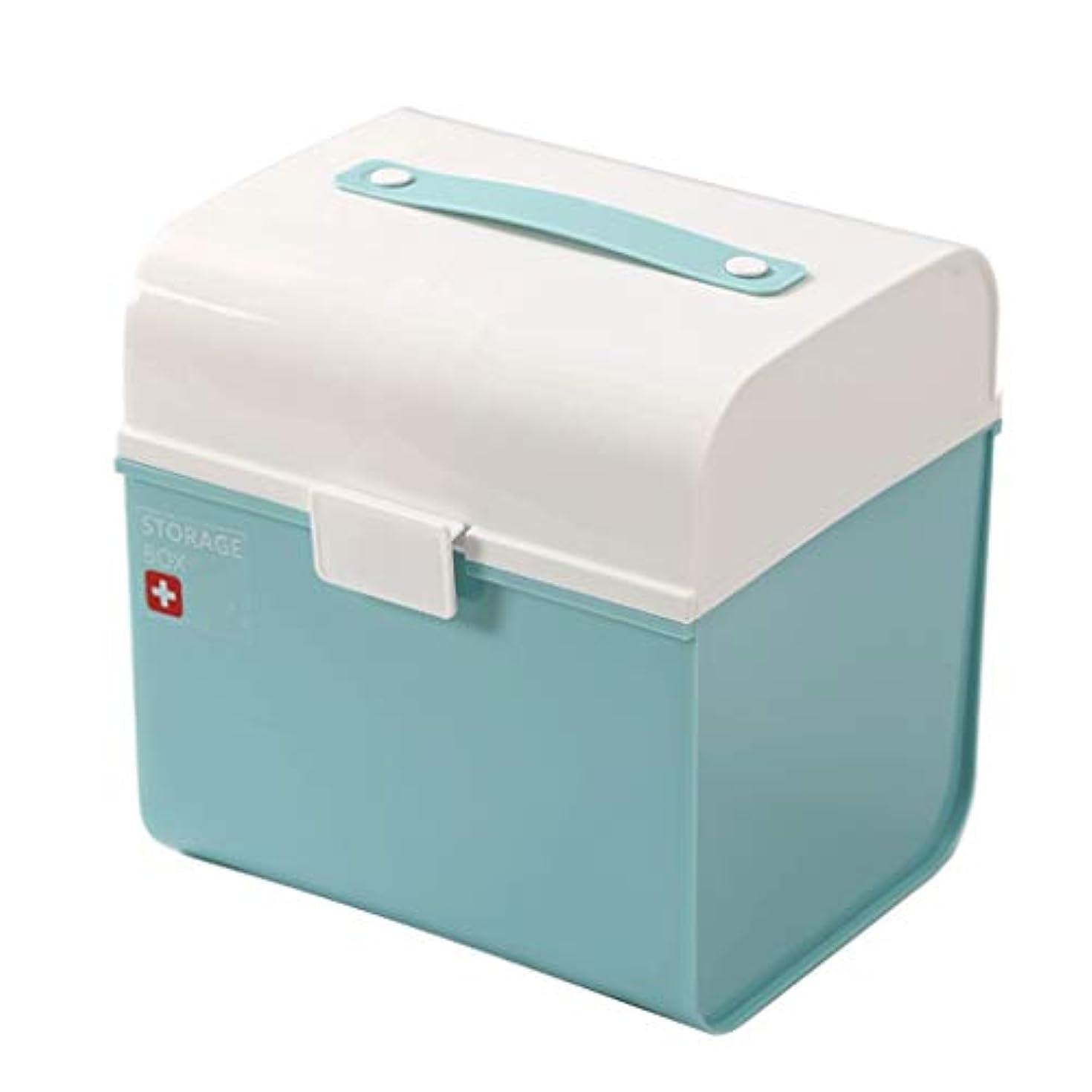 ピルボックスPP 24 * 19.5 * 25 cm家庭用薬ボックス薬収納ボックス (色 : 青)