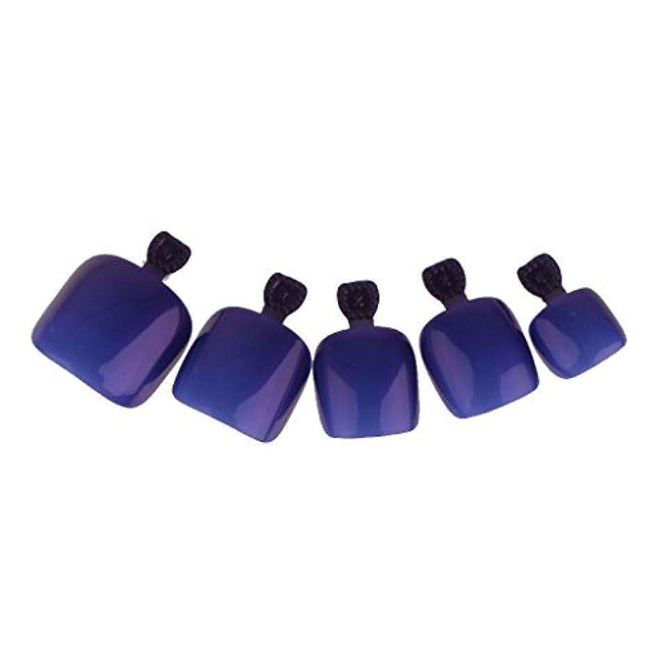 現実神アサー【ノーブランド品】 24個 フルカバー ペディキュア 人工 ネイルアート ヒント 全14色選べる - 濃い紫色
