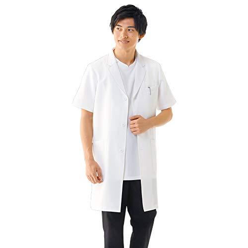 ナースリー デイリー半袖ドクターコート メンズ シワになりにくい 白衣 実験衣 医師 診察衣 ポケット付き 医療 M ホワイト 9628201