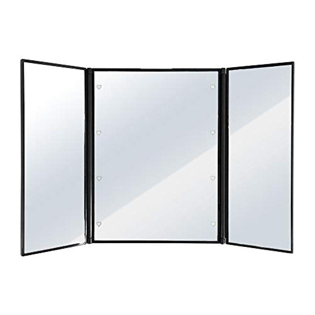 保有者アレルギー性冷凍庫SUGGEST 卓上ミラー LEDライト付 【選べるカラー】 化粧鏡 三面鏡 ビューティーミラー (ブラック)