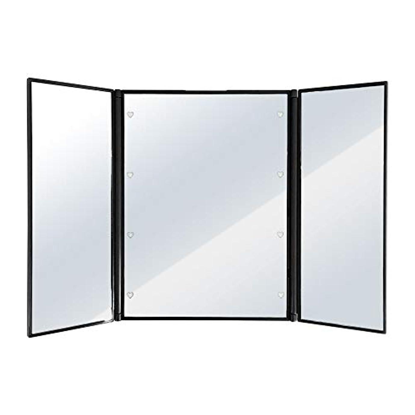 とまり木メイド行商人SUGGEST 卓上ミラー LEDライト付 【選べるカラー】 化粧鏡 三面鏡 ビューティーミラー (ブラック)
