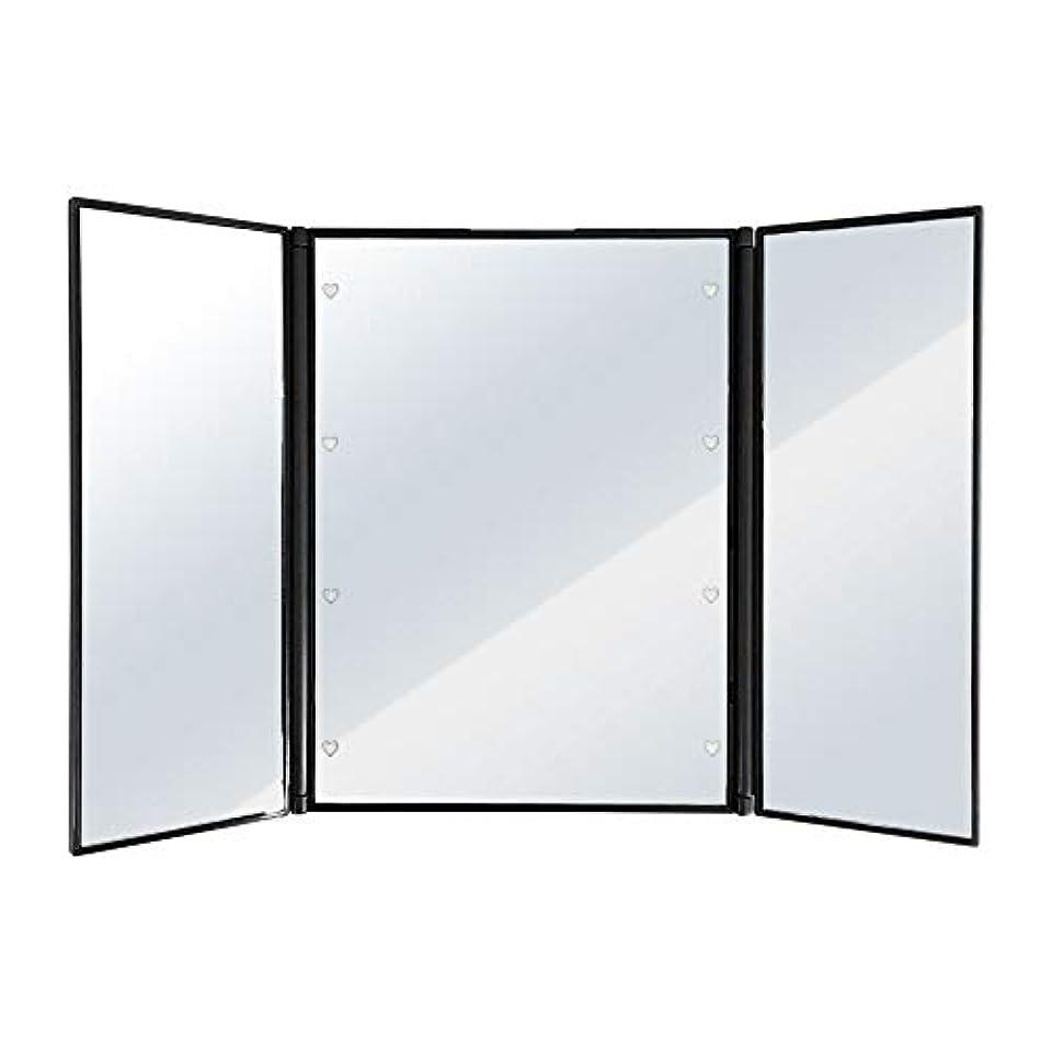 姿勢欲求不満閉塞SUGGEST 卓上ミラー LEDライト付 【選べるカラー】 化粧鏡 三面鏡 ビューティーミラー (ブラック)