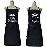 Leeotia Water Resistant and Oil-Proof Women's Cooking or Baking Apron with 2 Pockets Great Gifts for Wife Ladies Chef Black