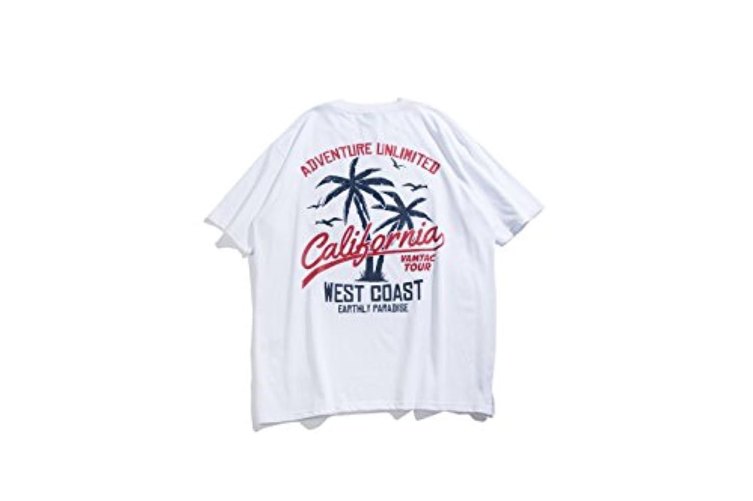 気付く日焼け関連するTシャツ メンズ トップス ダンス 衣装 ストリート 卸 ビッグ 原宿系 春夏 レディース ユニセックス HIPHOP ロゴ ヤシの木 TOKYO9