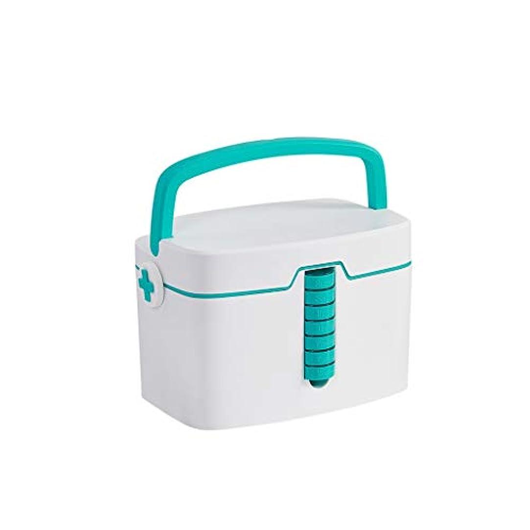 別々に悪性同行家庭用薬箱収納ボックス家庭用薬箱二層大容量プラスチックポータブル医療箱 AMINIY (Color : Green)