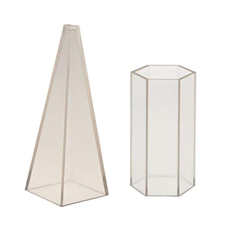 P Prettyia キャンドル金型 プラスチック 透明 六角形&ピラミッド形 金型 キャンドル工芸 手芸道具 2セット