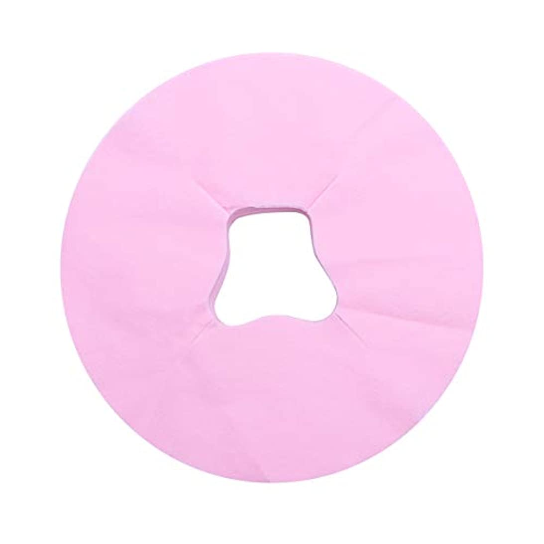 アナリスト個人秋Healifty 100ピース使い捨てフェイスマッサージカバーパッドフェイスホールピロークッションマットサロンスパフェイシャルベッドヘッドレスト枕シート(ピンク)