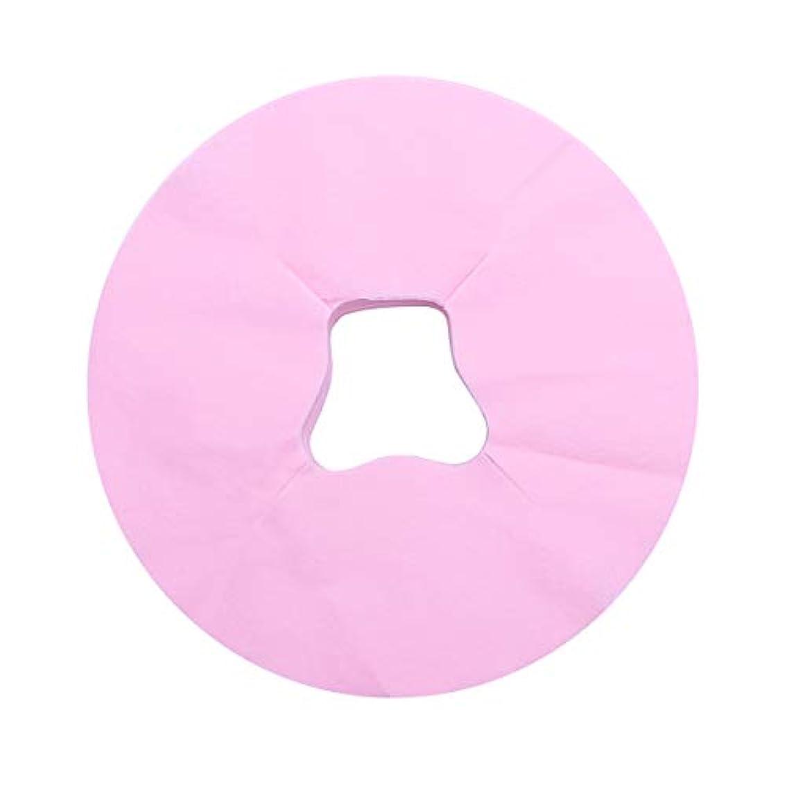 資格二層曖昧なHealifty 100シートマッサージフェイスピローカバー使い捨てフェイスカバーパッドフェイスホールピローフェイシャルベッドサロンスパヘッドレストピローシート(ピンク)