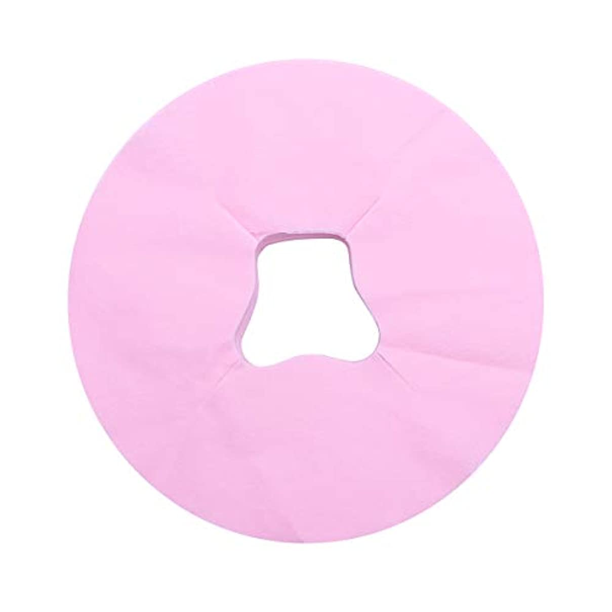 叱る終わった旅客Healifty 100ピース使い捨てフェイスマッサージカバーパッドフェイスホールピロークッションマットサロンスパフェイシャルベッドヘッドレスト枕シート(ピンク)
