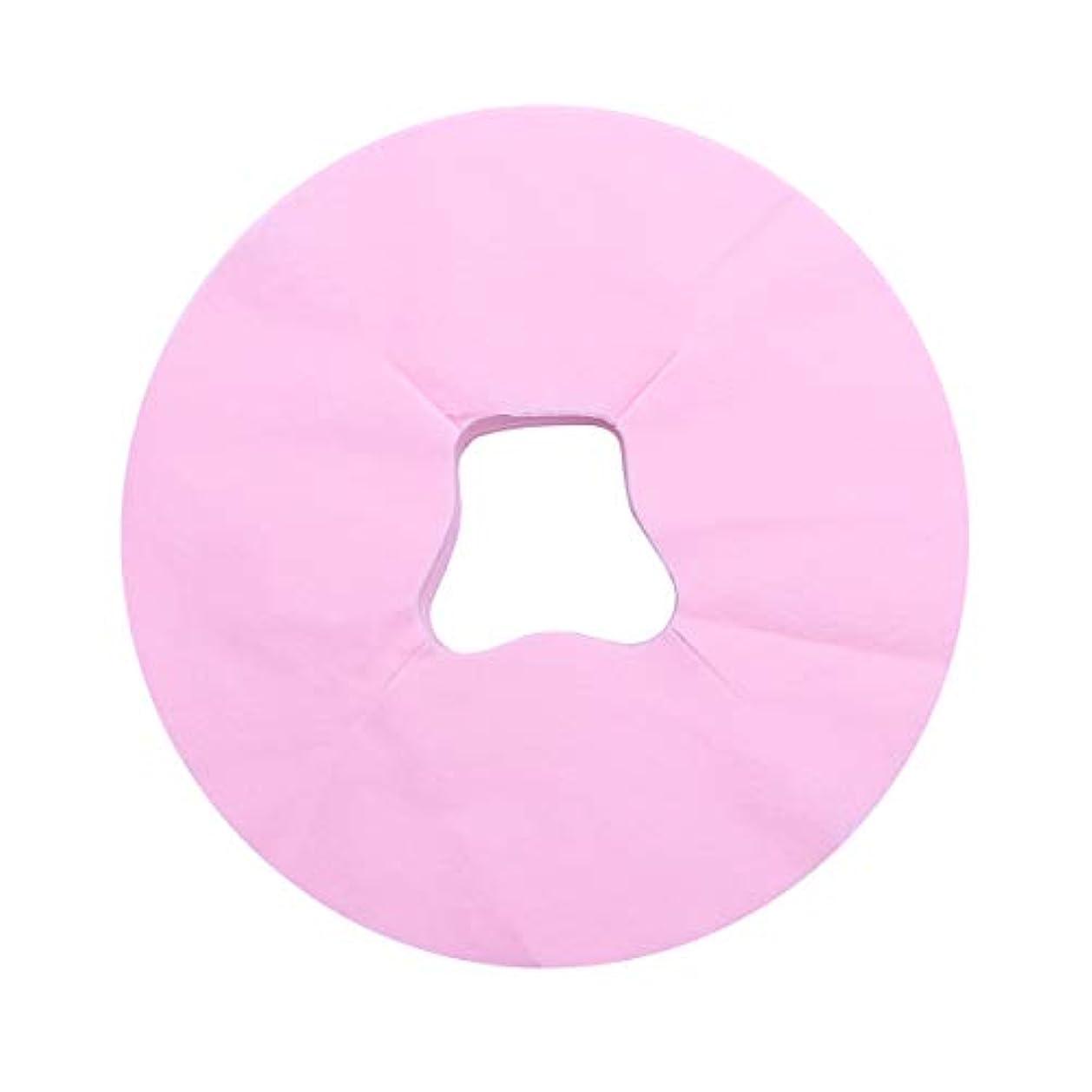 詳細に少し名詞Healifty 100ピース使い捨てフェイスマッサージカバーパッドフェイスホールピロークッションマットサロンスパフェイシャルベッドヘッドレスト枕シート(ピンク)