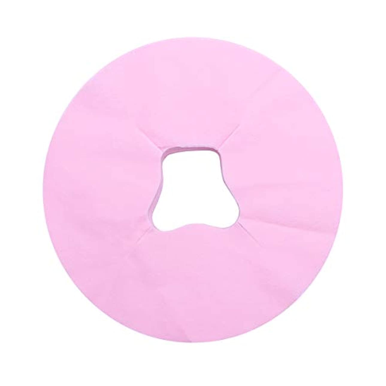 試み組立成長Healifty 100ピース使い捨てフェイスマッサージカバーパッドフェイスホールピロークッションマットサロンスパフェイシャルベッドヘッドレスト枕シート(ピンク)