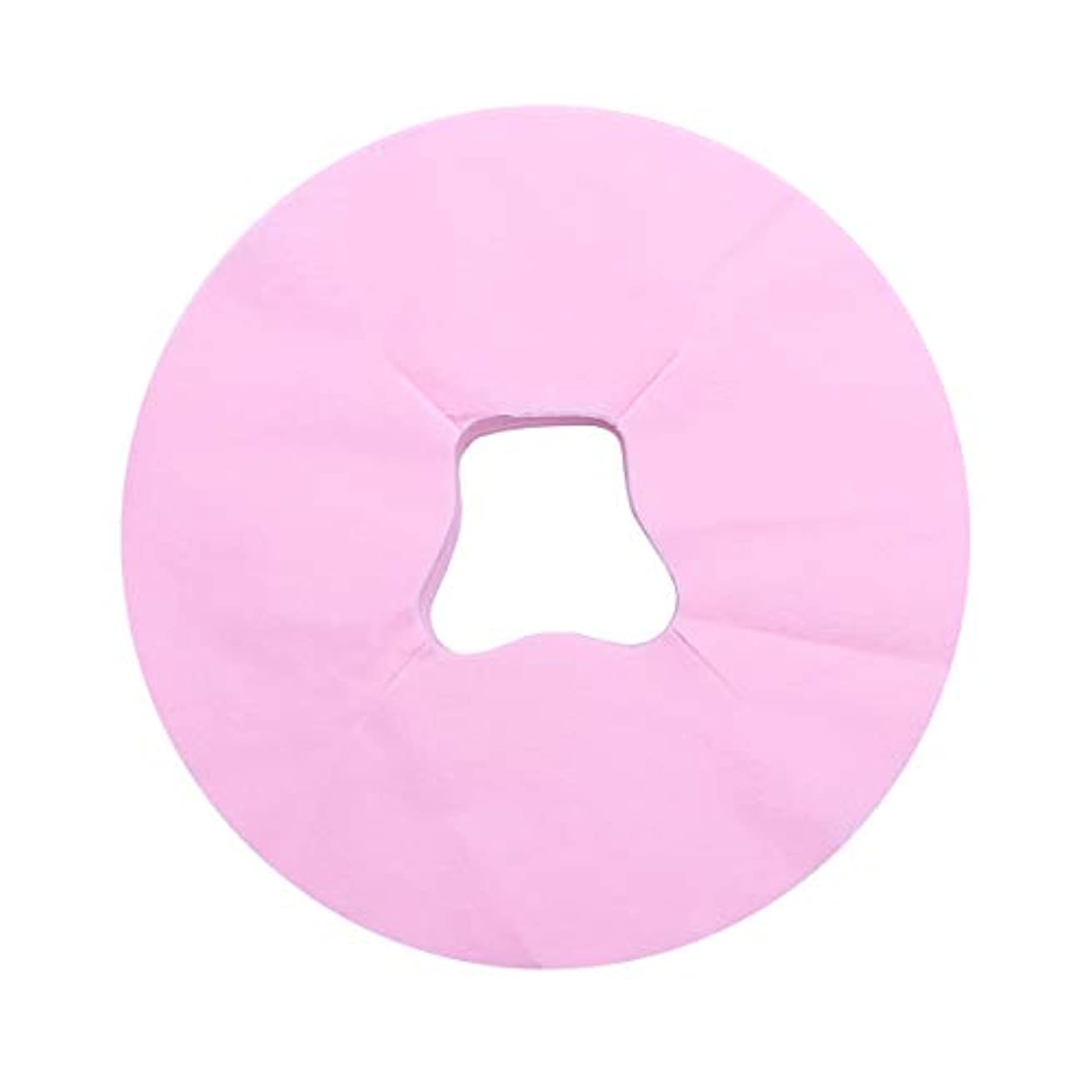 に賛成織る明らかにするHealifty 100ピース使い捨てフェイスマッサージカバーパッドフェイスホールピロークッションマットサロンスパフェイシャルベッドヘッドレスト枕シート(ピンク)