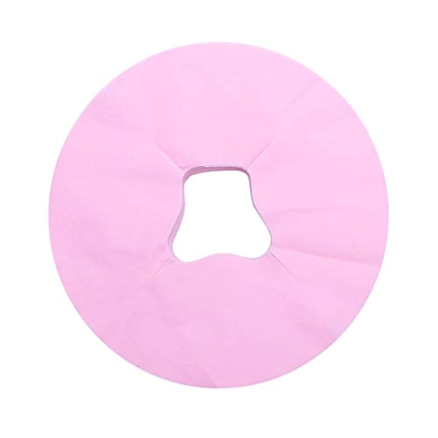 赤外線整然としたハッチHealifty 100シートマッサージフェイスピローカバー使い捨てフェイスカバーパッドフェイスホールピローフェイシャルベッドサロンスパヘッドレストピローシート(ピンク)
