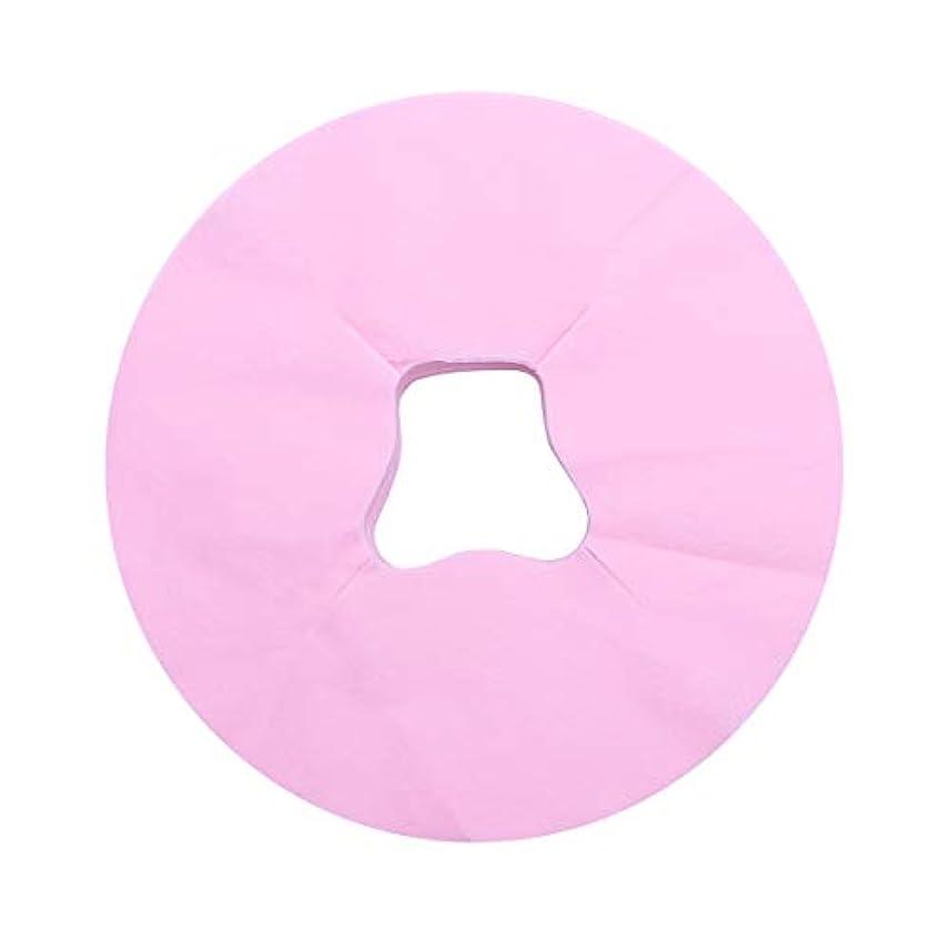 拮抗無視できるピストルHealifty 100シートマッサージフェイスピローカバー使い捨てフェイスカバーパッドフェイスホールピローフェイシャルベッドサロンスパヘッドレストピローシート(ピンク)