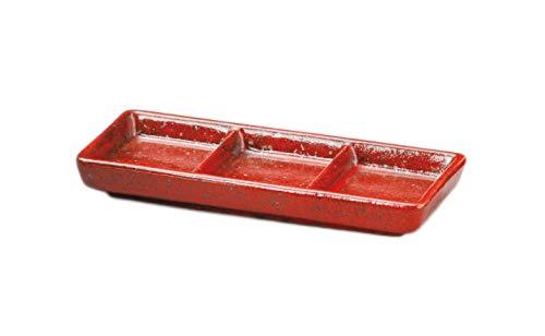 美濃焼 長皿 業務用 日本製 21×9.5×2.5�p 紅柚子三ッ仕切皿 38654474
