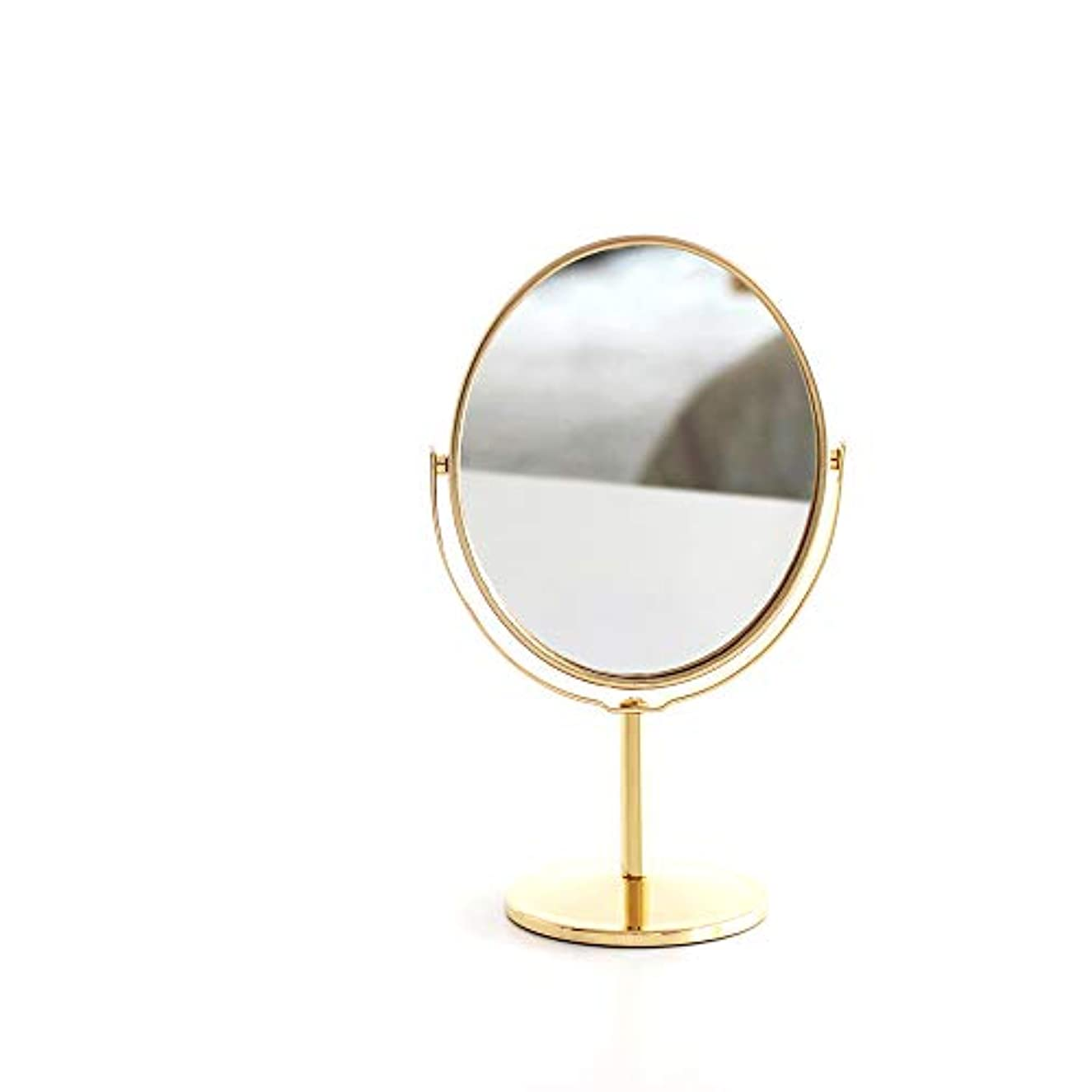 負荷意志変数メタル両面卓上鏡 スタンドミラー 化粧鏡 拡大鏡付き 楕円ミラー 360度回転 コンパクトサイズ 10X12cm (ゴールド)