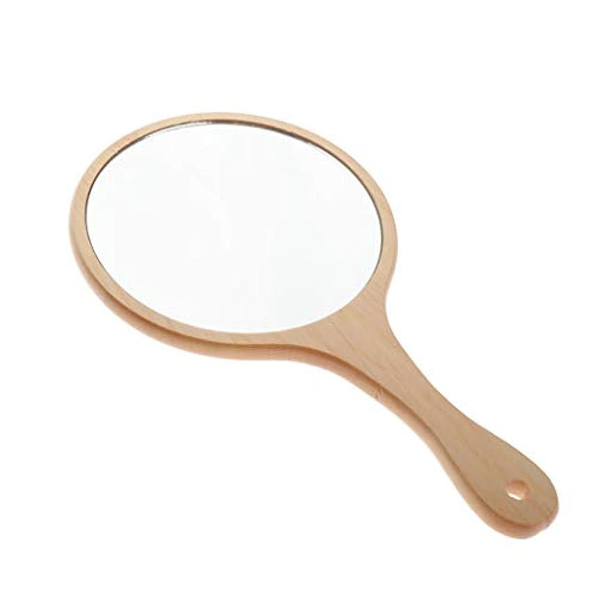 ビリーアッティカス従うInjoyo ハンドミラー 手鏡 化粧鏡 女優ミラー メイクミラー 木製ミラー ハンド鏡 全5選択 - ラウンドL
