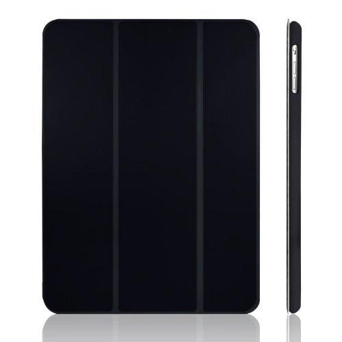 JEDirect iPad Air ケース (第1世代) レザー 三つ折スタンド オートスリープ機能 スマートカバー (ブラック)