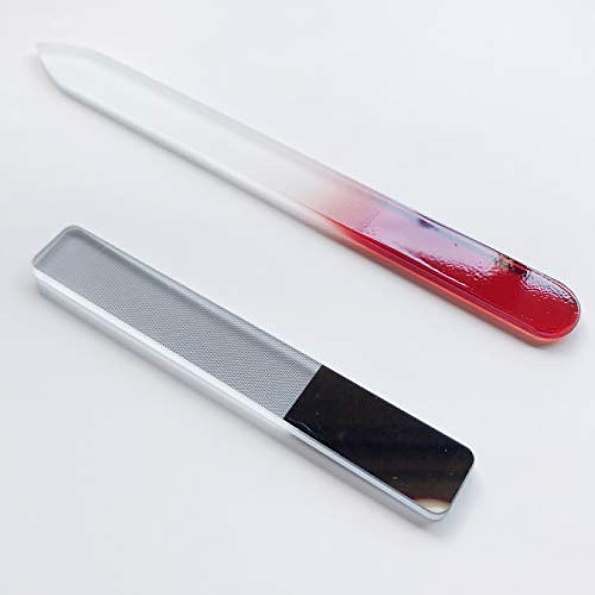 立法者長くするWith Grado ガラス製 爪 やすり 磨き ピカピカ ネイルケア (ぴかぴか爪やすり&赤セット)