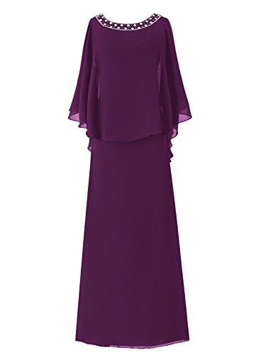 Dresstell(ドレステル) フォーマル 結婚式ドレス ドルマンスリーブ ビジュー付き ママのタイプ レディース 葡萄色 19号