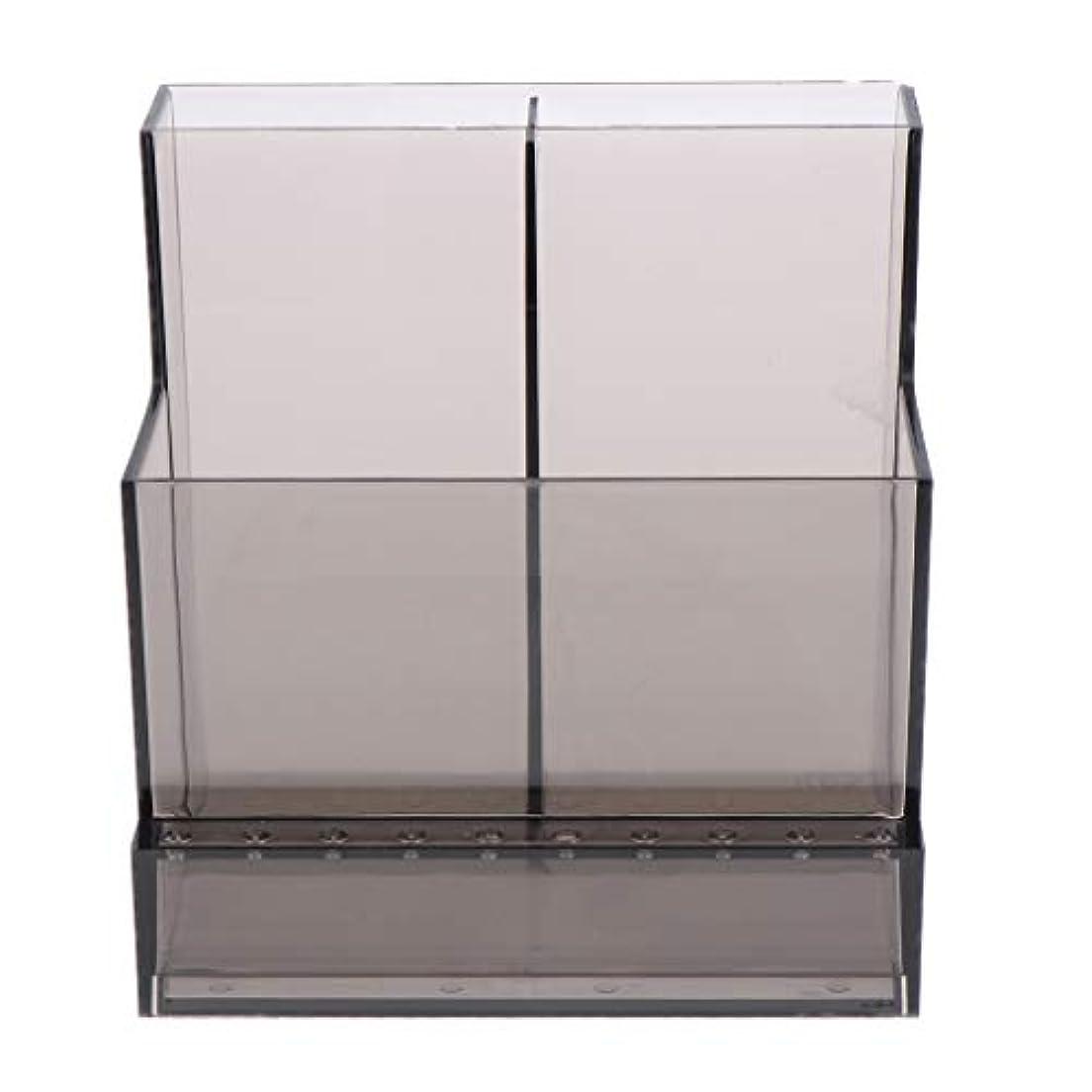 容器非互換笑いネイルアート 化粧ブラシ ドリルビットホルダー 収納スタンド アクリル 2色選べ - ブラック