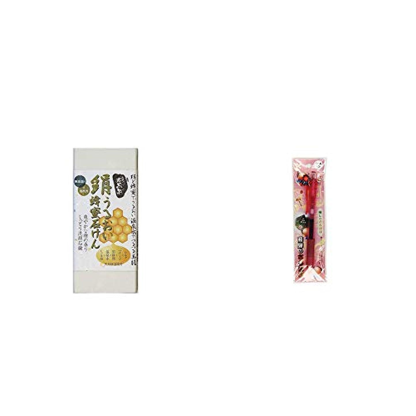 雄弁家フルーツ極端な[2点セット] ひのき炭黒泉 絹うるおい蜂蜜石けん(75g×2)?さるぼぼ 癒しボールペン 【ピンク】