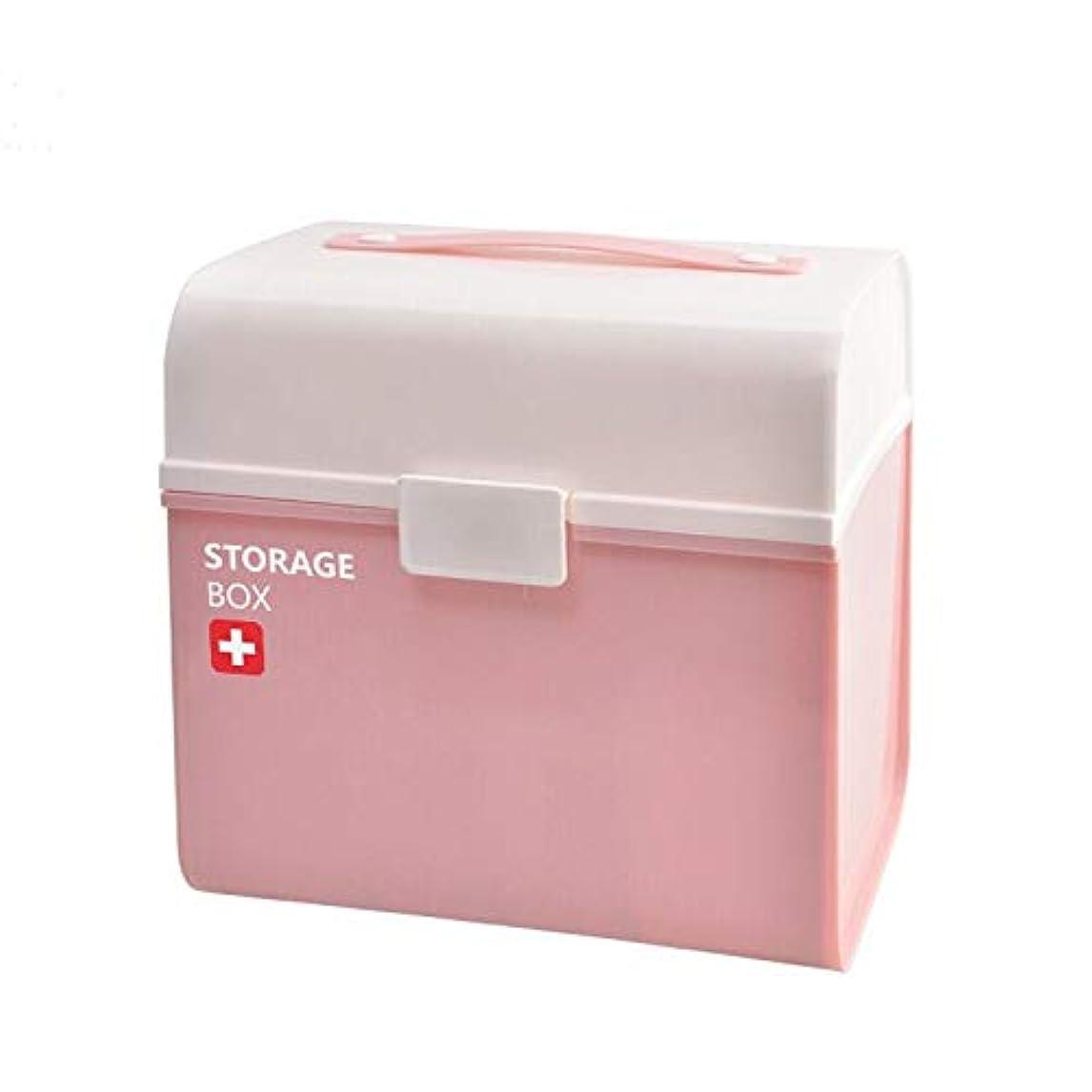 気体の時折ヒープDjyyh 医療ボックスプラスチック救急箱、雑貨収納ボックスピンクキャビネットピルボックス - 21×25×24センチ