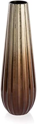 Boho Traders Copper Ceramic Fluted Conical Tall Vase, Medium, Copper Fading