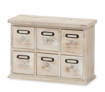 アンティークウッドボックス(6BOX) ドロワーボックス/小物入れ/ミニチェスト/ミニキャビネット po-40573