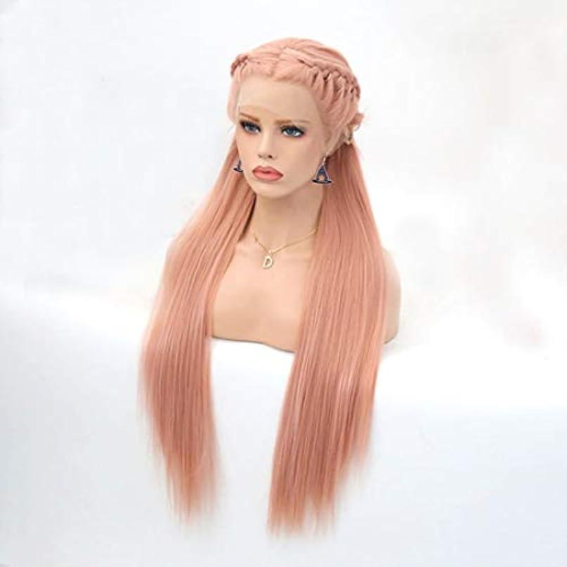 襟この外向きSummerys 組紐かつら耐熱性女性のための長くまっすぐで自然な合成レースフロントかつら