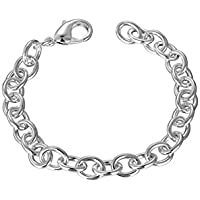 Attractive Shrimp Buckle Rough Chain Silver Plated Bracelet for Man Boy for Party