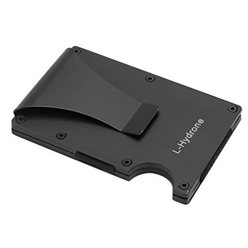 L-Hydrone マネークリップ メンズ クレジットカードケース 磁気防止 マネークリップ付 12枚収納 薄型 小銭入れ付き 持ち運び便利 名刺入れ ビジネスカードケース 高級感プレゼント カード入れ ラウンドファスナー 男女兼用 ブラック