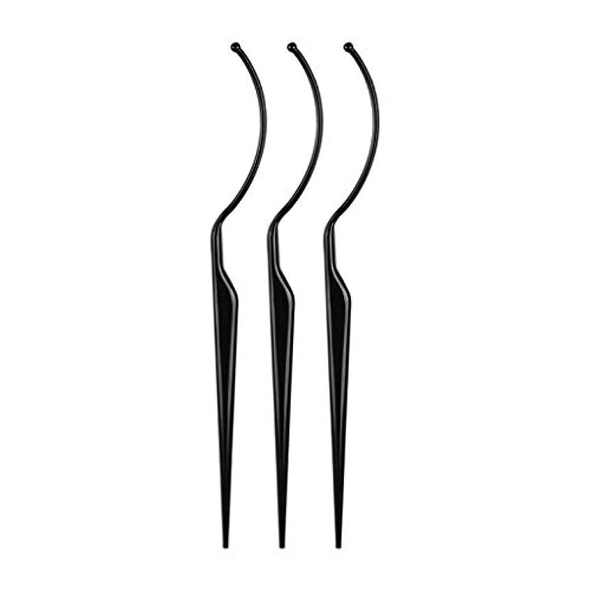 第三アブストラクトスキニーまつげ ディスプレイ まつげ エクステンション ピンセット つけまつげ専用ピンセット 耐久性 軽量 全2色 - ブラック