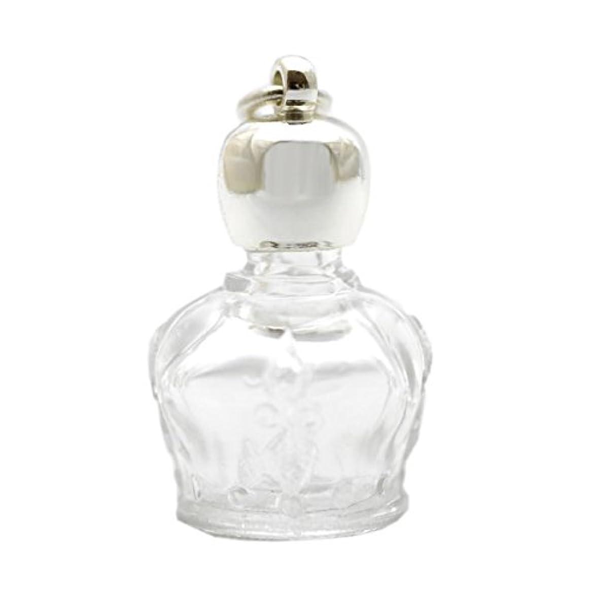 発送ひも目立つミニ香水瓶 アロマペンダントトップ 王冠型(透明)1ml?シルバー?穴あきキャップ、パッキン付属