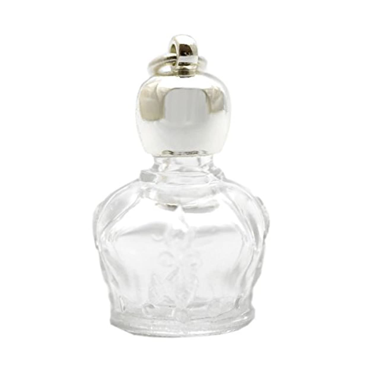 巧みなパパマークミニ香水瓶 アロマペンダントトップ 王冠型(透明)1ml?シルバー?穴あきキャップ、パッキン付属