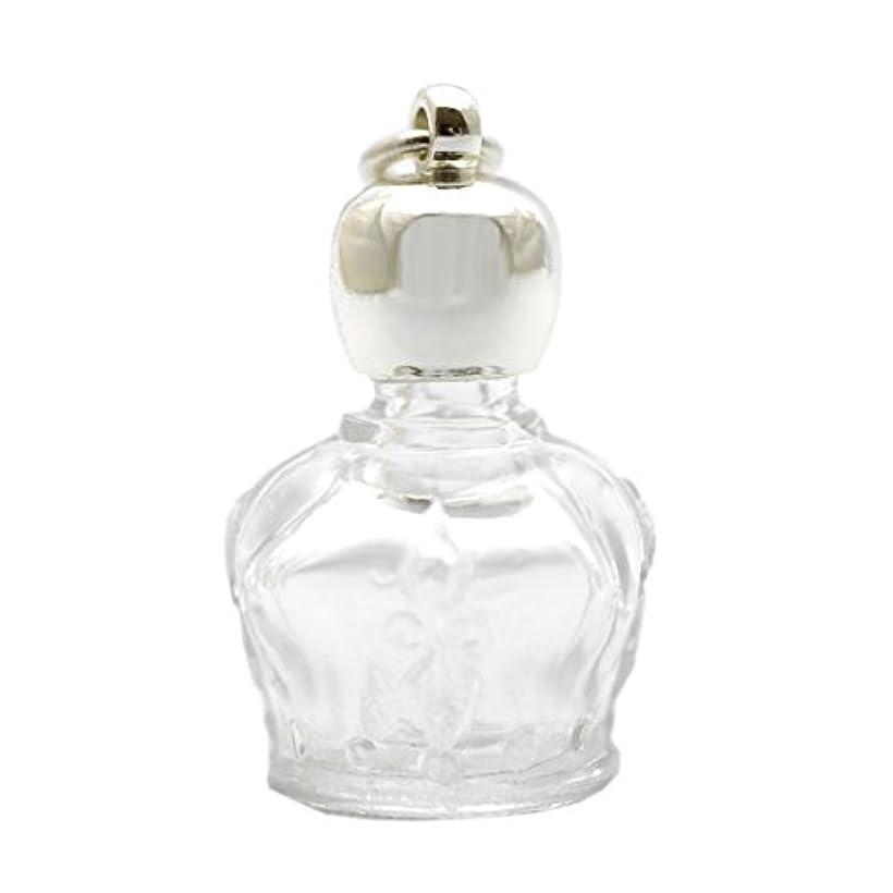 間違いリビジョン王位ミニ香水瓶 アロマペンダントトップ 王冠型(透明)1ml?シルバー?穴あきキャップ、パッキン付属