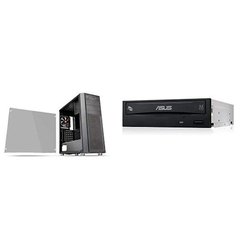 驚き経歴グラフィックThermaltake Versa H26 TG ミドルタワー型PCケース [強化ガラスモデル] CS7278 CA-1J5-00M1WN-00 & Asus Windows10対応 M-DISC対応 最大24倍速書込 SATA接続 DVD/CDライティングソフト付き DRW-24D5MT