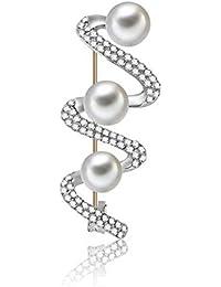 SKZKKジルコンパールブローチ用女性スパイラルタイプブローチとピン女性用クリスタルダイヤモンド用女性花嫁作成女性ファッションジュエリー