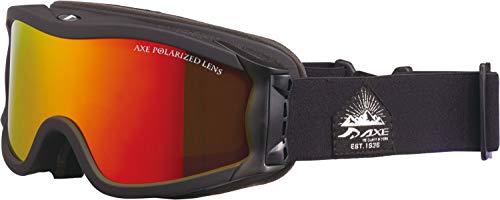 AXE(アックス) スキー 男女兼用 ゴーグル 偏光レンズ・ヘルメット対応・メガネ対応・ダブルレンズ・ノーズフィット・UVプロテクション マットブラック×レッド OMW785P