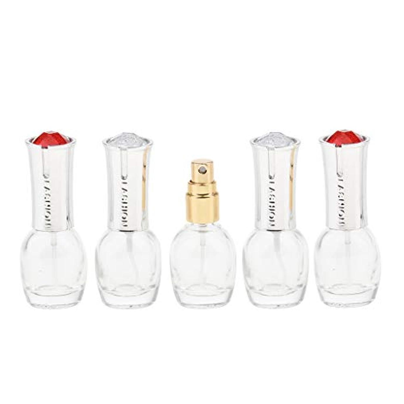 キャンセル処方するフェデレーション5個 ガラス ボトル 10ml エッセンシャル オイル 香水 アトマイザー スプレーボトル 旅行