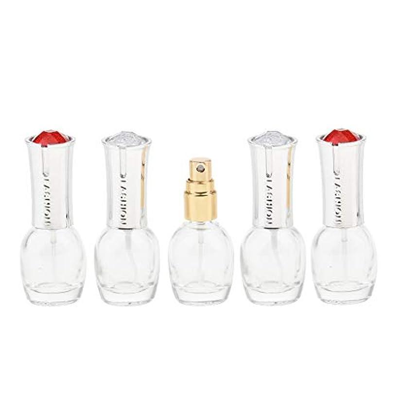 雷雨地殻経度Fenteer 5個 ガラス ボトル 10ml エッセンシャル オイル 香水 アトマイザー スプレーボトル 旅行