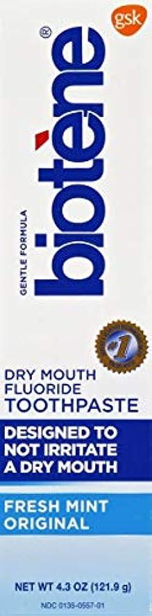 バングジュラシックパーク城Biotène Bioteneジェントル式フッ化物の歯磨き粉、フレッシュミント4.3オズ(1パック)