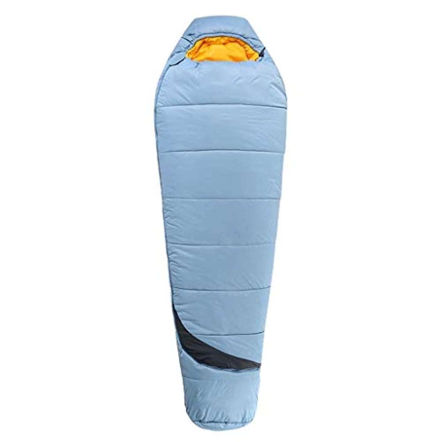 日付付きセーブ進化する大人のミイラの寝袋暖かい軽量4シーズンスリーピングマットキャンプ旅行ハイキング登山屋内野外活動青(色:A)