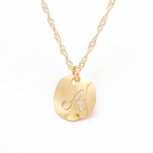 Initial A 18金製 K18 gold ゴールド (日本製 Made in Japan) (金属アレルギー対応) イニシャル 「A」 波型 プレート ペンダント ネックレス スクリュー チェーン ジュエリー (Amazon.co.jp 限定) [HJ] (45 センチメートル)